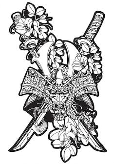 Tätowierungskunst-kriegerskopf und blumenhandzeichnung und -skizze schwarzweiss mit der lokalisierten linie kunstillustration
