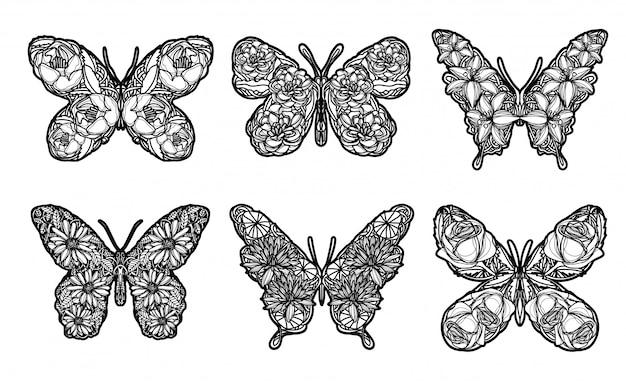 Tätowierungskunst-schmetterlingsskizze schwarzweiss