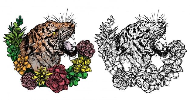 Tätowierungskunst-tätowierungstiger und blumenfarbskizze schwarzweiss