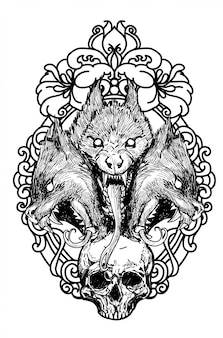 Tätowierungsschädel- und -wolfhandzeichnungsskizze schwarzweiss