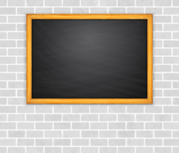 Tafel auf brickwall hintergrundvektor