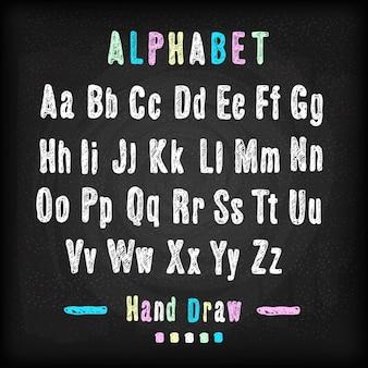 Tafel font hand zeichnen alphabet vektor-illustration auf schwarzem hintergrund textur
