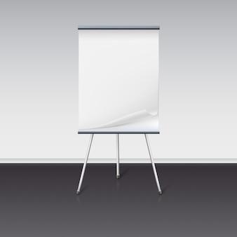 Tafel für präsentationen mit blatt papier stehen über wand