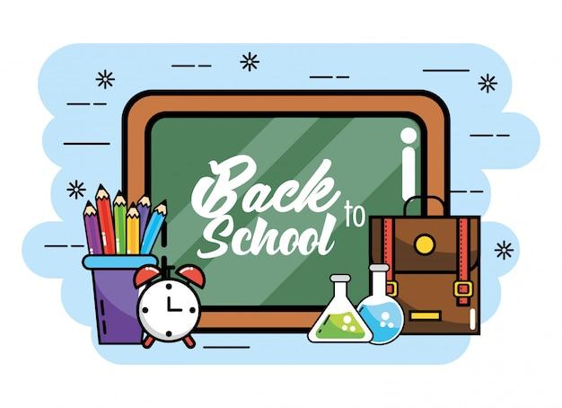 Tafel mit bleistiftfarben und rucksack zur schule