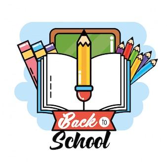 Tafel mit buch und bleistift, zum der schule zu unterstützen