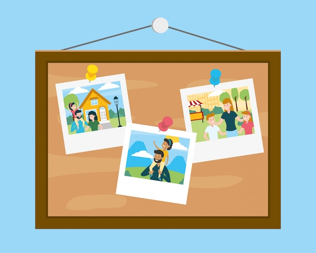 Tafel mit fotos am familientag