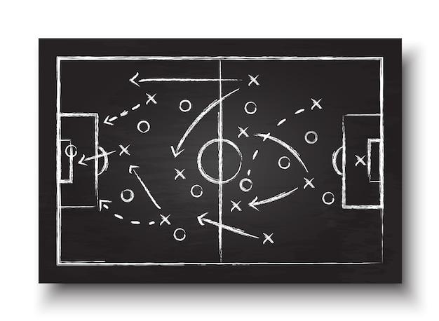 Tafel mit fußballspielstrategie.
