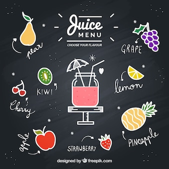 Tafel mit gezogenen früchten