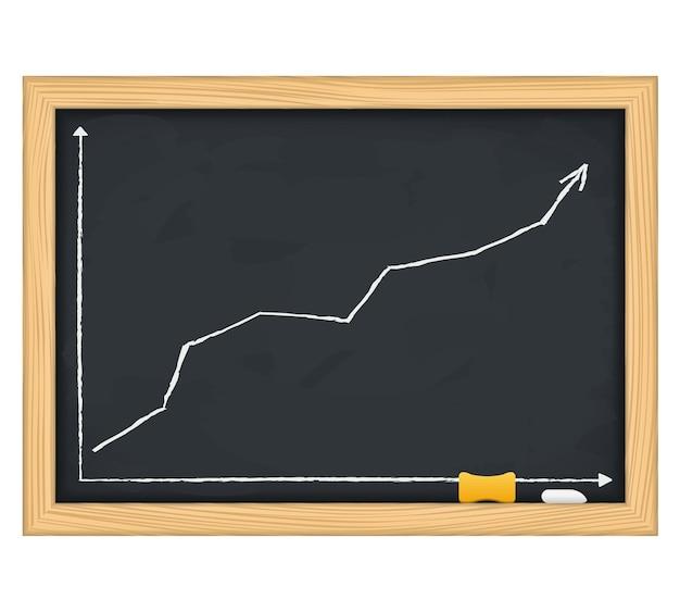 Tafel mit handgezeichnetem wachsenden pfeil,