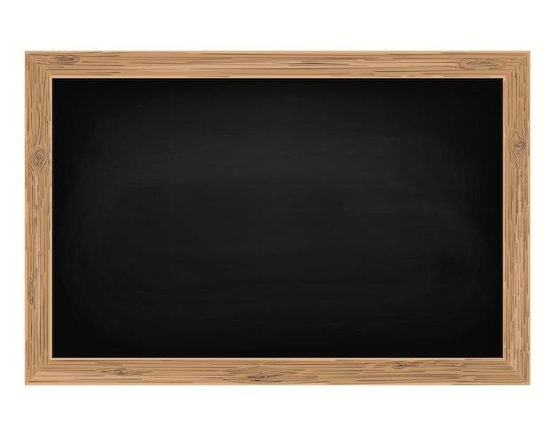 Tafel mit holzrahmen, leere schultafel für das klassenzimmer, ausgeriebener hintergrund, schmutzige tafel, vektor