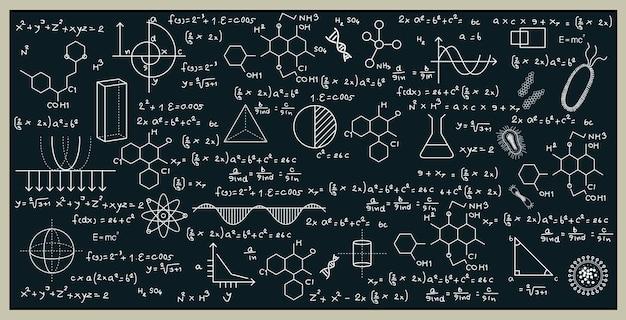 Tafel mit mathematik und naturwissenschaften durch schreiben an die tafel