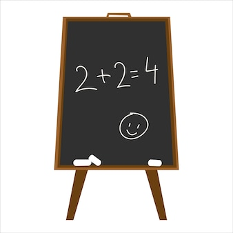 Tafel mit mathestunde schreiben von 2 2 mit kreide auf einer schwarzen schiefertafel vektor-illustration