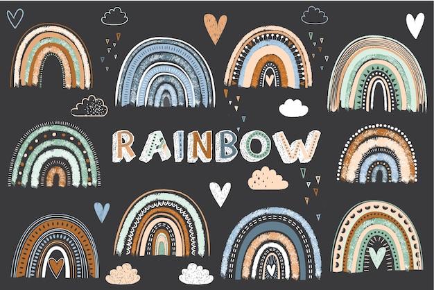 Tafel niedliche boho regenbogenelemente