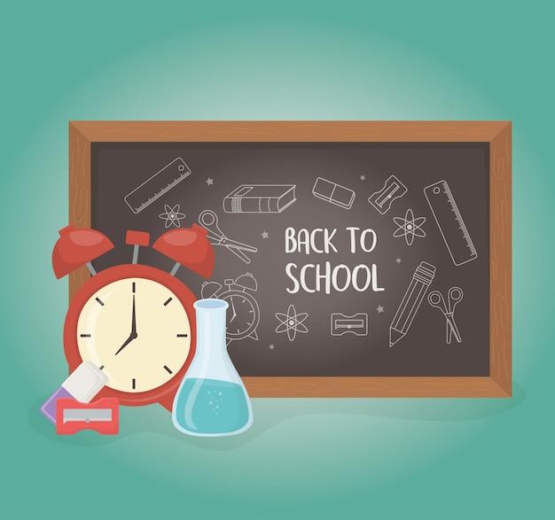 Tafel und zubehör zurück in die schule