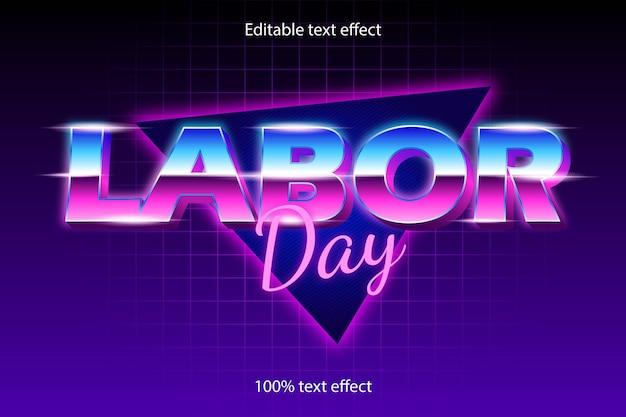 Tag der arbeit bearbeitbarer texteffekt retro mit neon-stil