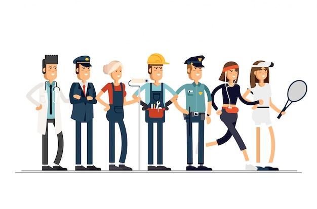Tag der arbeit. eine gruppe von menschen verschiedener berufe auf weißem hintergrund. illustration in einem flachen stil.