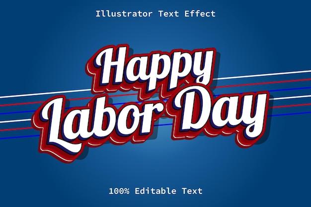 Tag der arbeit mit bearbeitbarem texteffekt im modernen cartoon-retro-stil