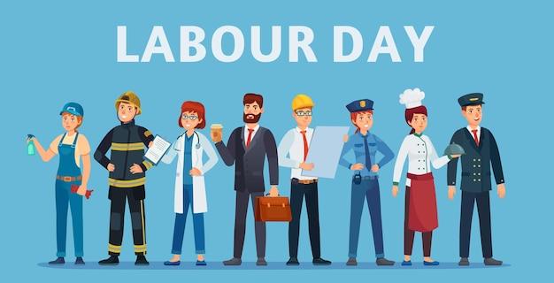 Tag der arbeit. professionelle arbeitergruppe, glückliche profis verschiedener jobs, die zusammen mit dem begrüßungstext des labor day stehen