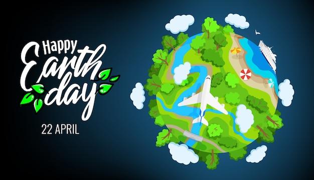Tag der erde 22. april, planet globus mit bäumen, flüssen und wolken