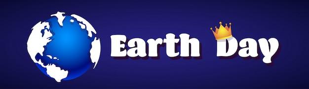 Tag der erde-karte mit planeten in der kronen-umweltschutz-feiertags-horizontalen fahne