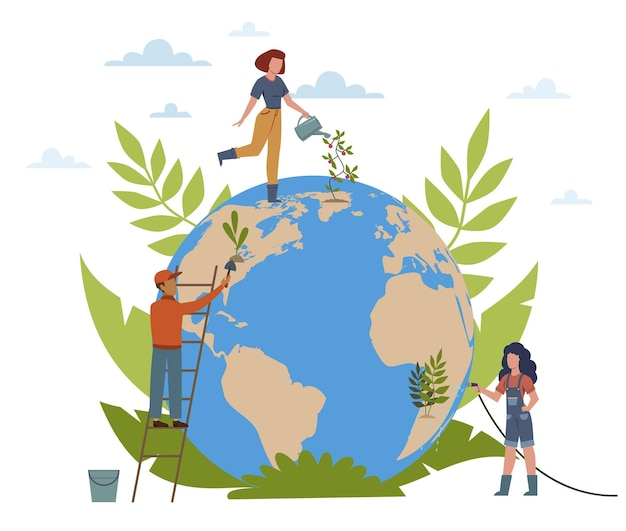 Tag der erde. menschen kümmern sich um die ökologie des planeten, pflanzen von bäumen, wasserblumen, frauen und männern mit globus, schützen und retten das moderne konzept der welt mit flacher vektorkarikatur isolierte illustration