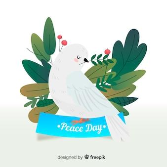 Tag der friedenszusammensetzung mit flacher weißer taube