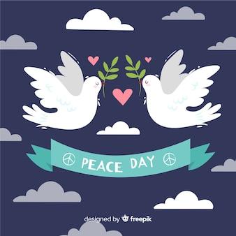 Tag der friedenszusammensetzung mit hand gezeichneter weißer taube