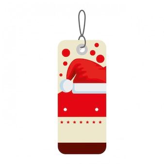 Tag der frohen weihnachten, das mit sankt-hut hängt
