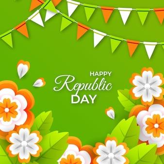 Tag der indischen republik im papierstil
