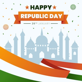 Tag der indischen republik mit flachem design