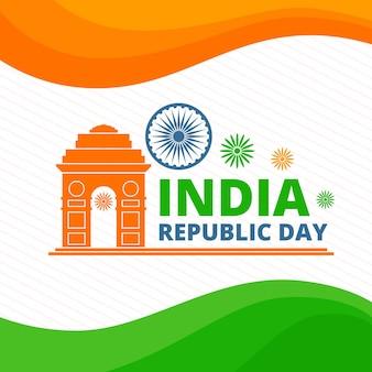 Tag der indischen republik mit indischer flagge