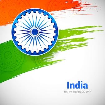 Tag der indischen republik mit pinsel flagge