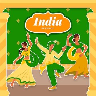 Tag der indischen republik mit tänzern