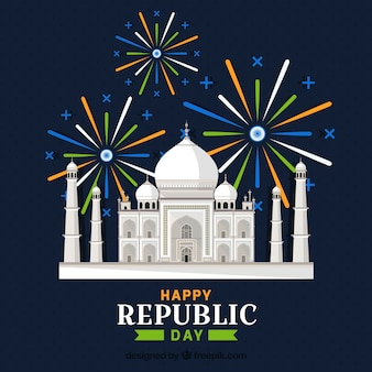 Tag der indischen republik mit taj mahal