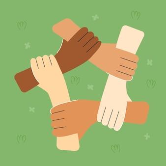 Tag der internationalen freundschaft. hände internationaler freunde. interracial beziehungen. premium-vektor
