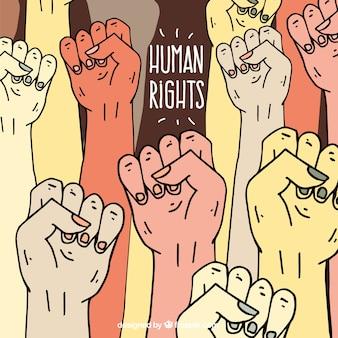 Tag der menschenrechte, die hände erhoben