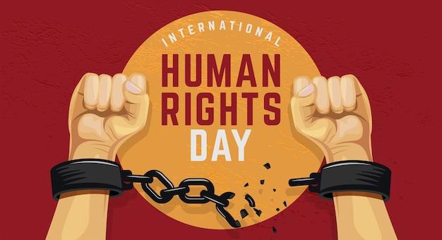 Tag der menschenrechte mit erhobenen händen, die die kette brechen