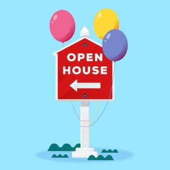Tag der offenen tür immobilienzeichen konzept