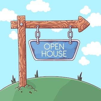 Tag der offenen tür zeichenkonzept