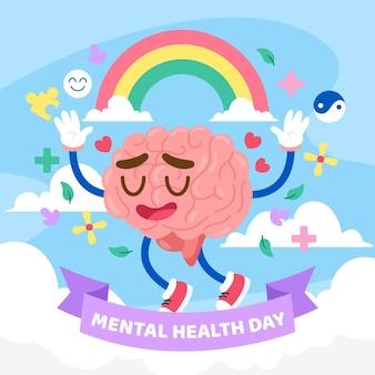 Tag der psychischen gesundheit der flachen designwelt
