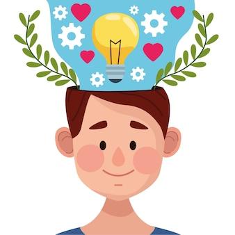 Tag der psychischen gesundheit mit jungem mann und glühbirne