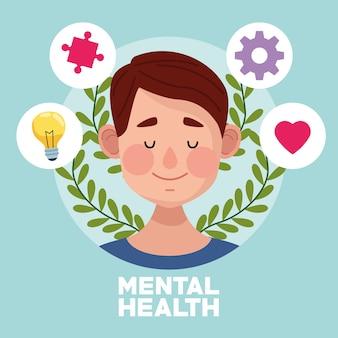 Tag der psychischen gesundheit mit jungen mann und set items