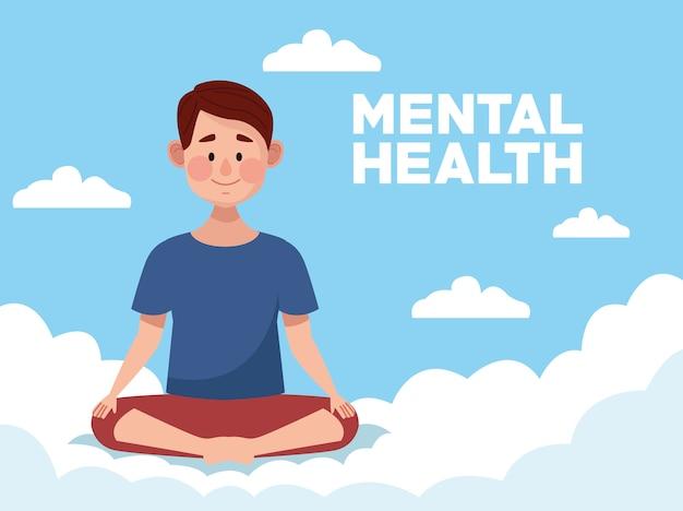 Tag der psychischen gesundheit mit mann, der lotuspositionsyoga praktiziert
