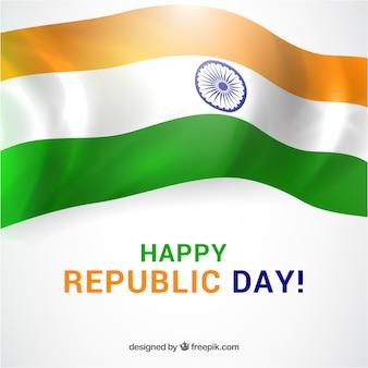 Tag der republik hintergrund mit glänzenden flagge