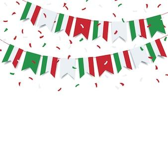 Tag der republik italien. girlande von der flagge italiens.