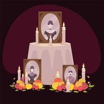 Tag der toten, altar mit rahmen fotos blumen und kerzen mexikanische feier
