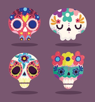 Tag der toten, dekorative zuckerkatrinas blumenkultur traditionelle feier mexikanische ikonen