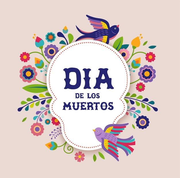 Tag der toten dia de los moertos banner mit bunten mexikanischen blumen fiesta urlaub poster party