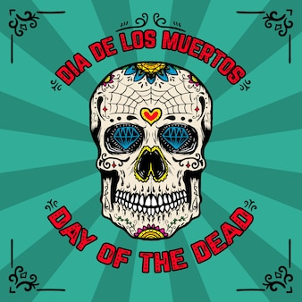 Tag der toten. dia de los muertos. bannerschablone mit mexikanischem zuckerschädel auf hintergrund mit blumenmuster. element für plakat, karte, flyer, t-shirt. illustration