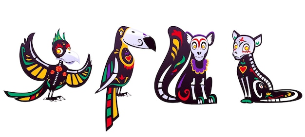 Tag der toten, dia de los muertos, papagei, tukan, lemur, katzenschädel und skelett verziert